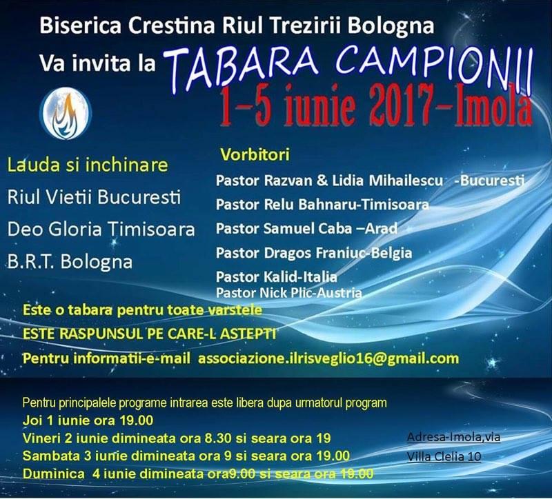 Tabara Campionii Imola Italia - 1-5 Iunie 2017